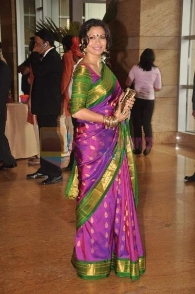 Maria Goretti surprises everyone by adding some sheen to the traditional kancheepuram silk saree sari in bug-like colours.