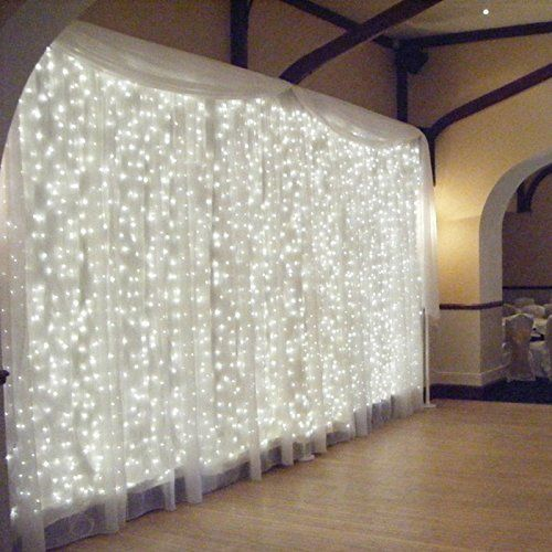 Tesoar Wedding Party Lights Christmas Backdrop 9.8 x 9.8Ft (3M x 3M) Pure White 300 LED Fairy Garden Curtain String Lights Decoration for Christmas Wedding Church Party 110V