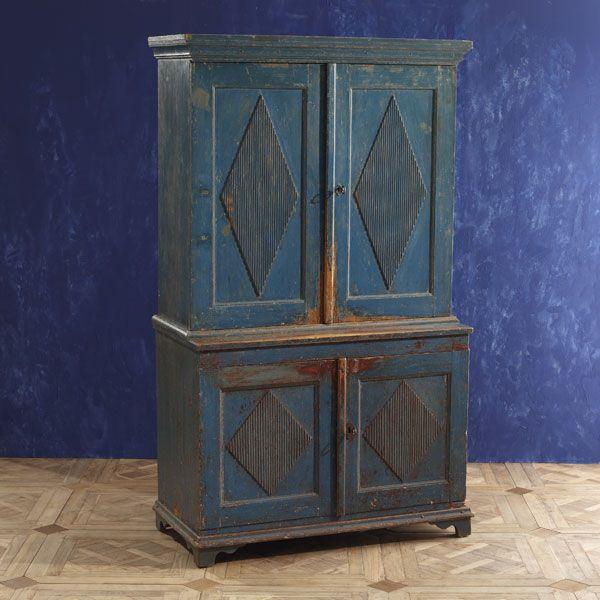 Nineteenth-Century Swedish Gustavian Cupboard   Rare Birds