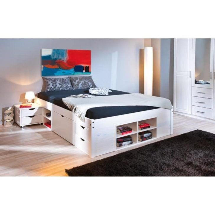 Interior Design Lit Rangement Lit 160x200 Cm Multi Rangement Achat Vente Blanc 140x190 Ikea But Canapes Bed Frame With Storage Ottoman Storage Bed Bed Storage