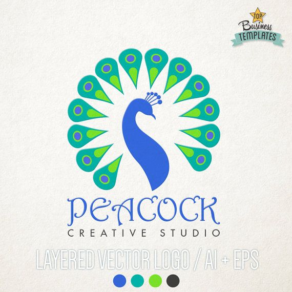 Peacock Vector Logo Hand Drawn Logo Logo by TopBusinessTemplates