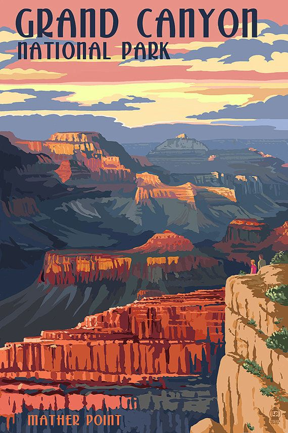 Grand Canyon National Park  Mather Point Art by NightingaleArtwork