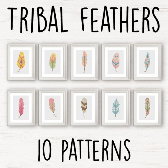 10 Tribal / Aztec Feather cross stitch pattern - Modern cross stitch Sale Multi Buy Deal instant download PDF pastel Nature crafts DIY gift by Stitchonomy