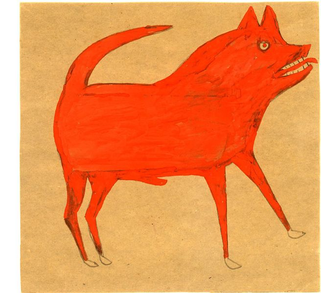 Bill Traylor | Red Dog (ca. 1949-1942) | Poster paint and pencil on paper