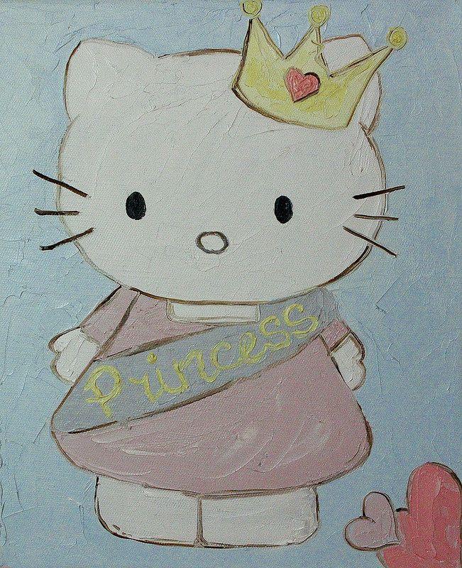 "hello-kitty-oil-painting (Хелоу китти, картина маслом) ""Princess Hello kitty"" (20*30 oil/canvas, 2013) ""Китти принцесса"" 20*30, холст/масло, 2013г"