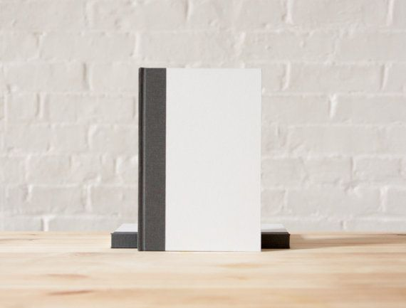 White and Grey Hardcover Notebook  Journal  by knotbooks on Etsy