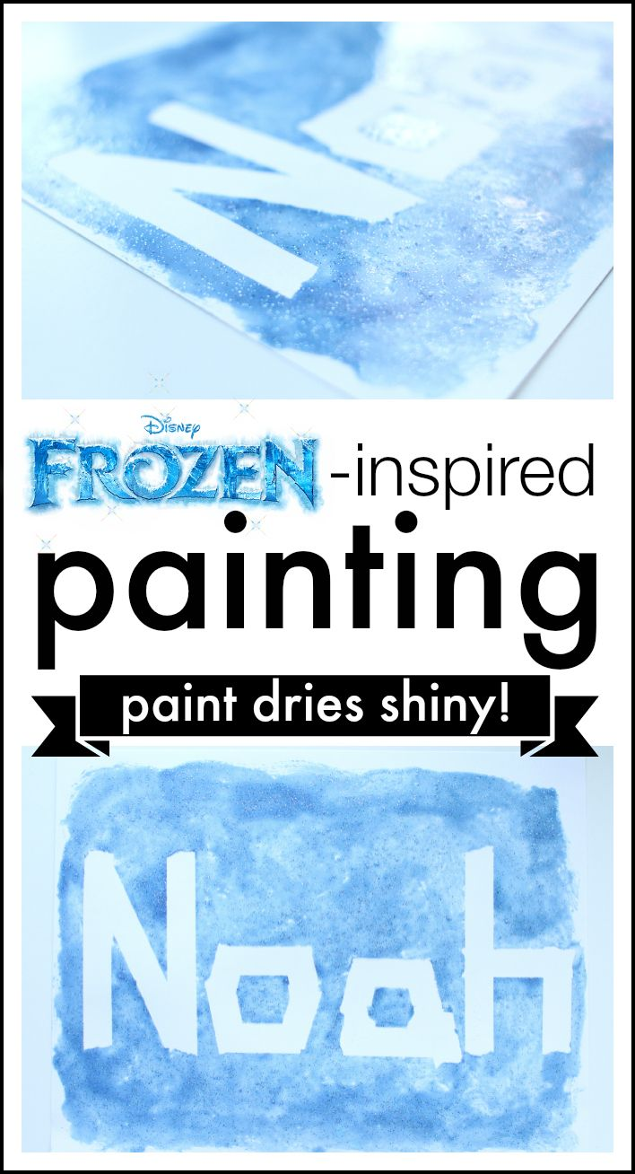 This Frozen-inspired painting activity is perfect for the Frozen movie lover in your house!  The paint even dries shiny to look like ice!