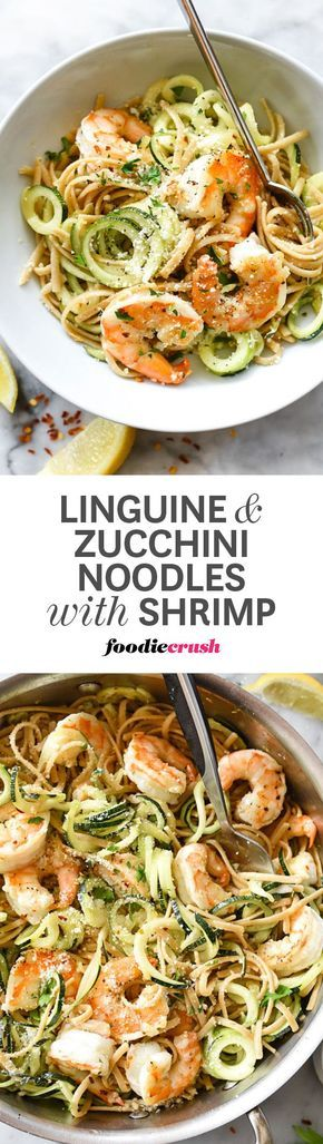 It's not a question of either/or pasta/zucchini noodles but rather, AND/WITH...plus, SHRIMP! This is the best   http://foodiecrush.com #shrimp #zoodles #pasta #linguine #zucchini