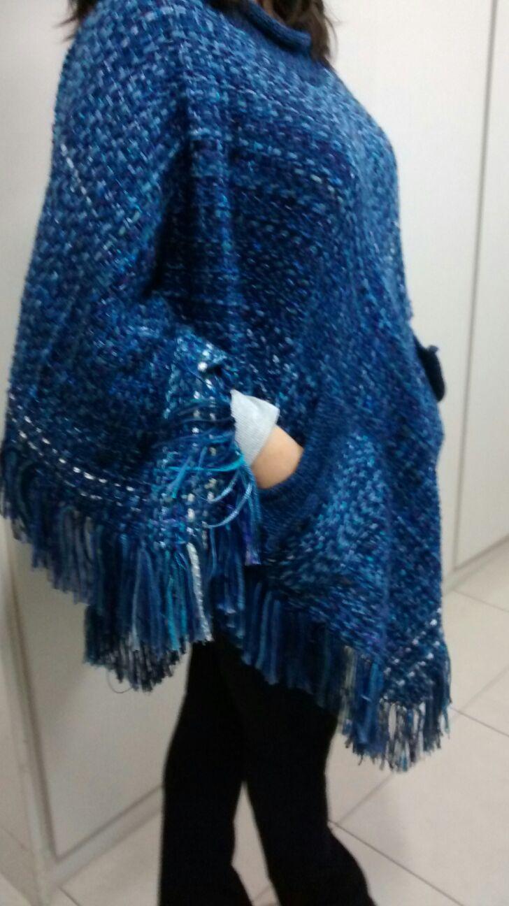 poncho em lã feito no tear manual