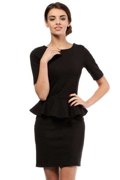 Pencil black dress with short sleeves