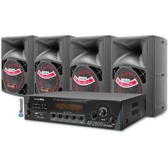 Amplificador Bluetooth 2000W + 4 Cabinas. Equipo de sonido profesional Audiopro - Negro