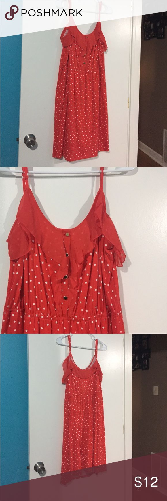Red polka dot dress Super light, casual summer dress, perfect for throwing over a bathing suit or wear to dinner. Wore once. Elle Dresses Midi