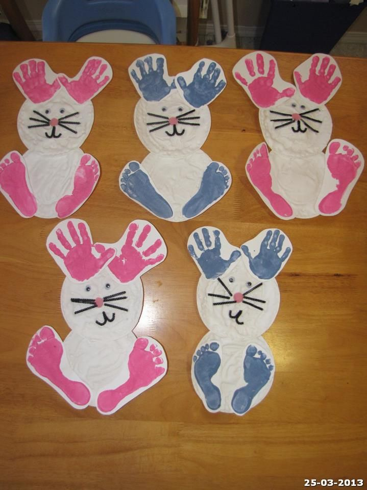 Easter bunny using a paper plate and hand foot prints