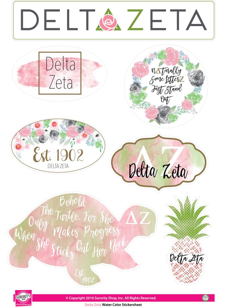 "Get your ""Greek On"" with these high quality, Water Color stickers! Each sheet contains 7 stickers that are unique to your sorority. Printed on sturdy vinyl, they are easily removed or repositioned lea"