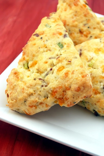 Savory bacon and cheddar cheese scones. So awesome for Christmas morning!