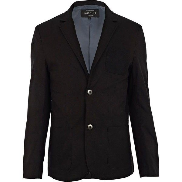 River Island Black knit pocket blazer (105 BRL) ❤ liked on Polyvore featuring men's fashion, men's clothing, men's sportcoats, men, sale, mens clothing, men's apparel, mens knit blazer, mens blazer jacket and mens blazers