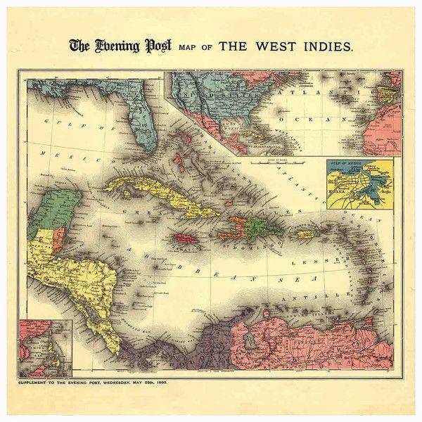 Best Antique Caribbean Maps Images On Pinterest Antique Maps - World map caribbean