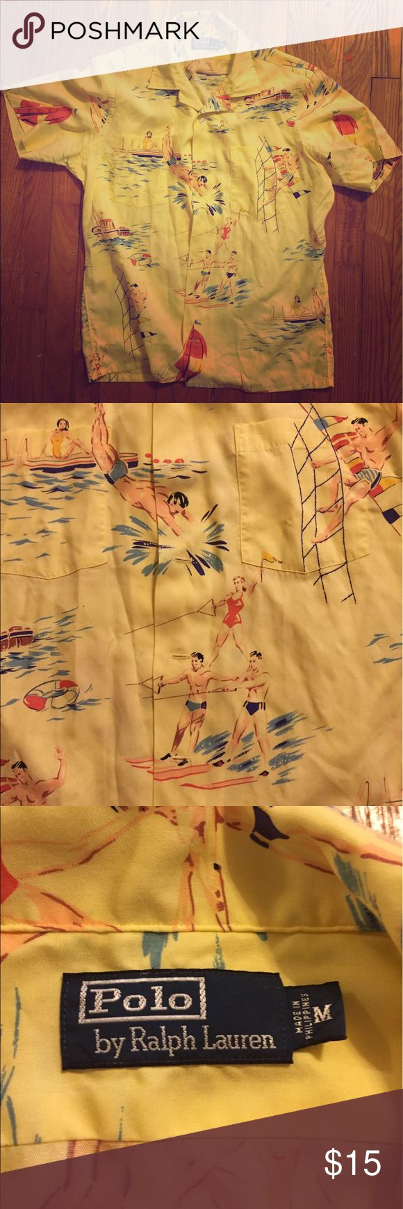 Polo Ralph Lauren Beach Scene Men's Shirt So cook! features a vintage beach scene on a lighter yellow background. Polo by Ralph Lauren Shirts Casual Button Down Shirts