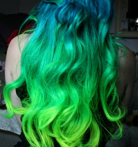 Cabelo Verde.: Mermaids Hair, Hair Colors, Ombre Hair, Neon Green, Bluegreen, Blue Green, Green Hair, Hair Style, Colors Hair