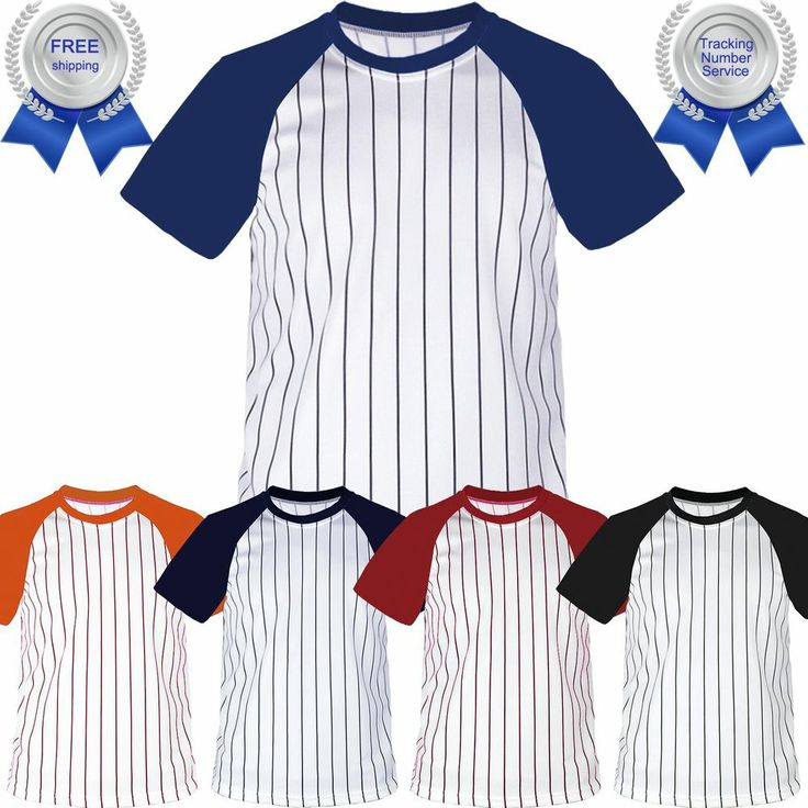 Raglan Stripe T-Shirt Baseball Jersey Short Sleeves Round Neck Tee Team Sports