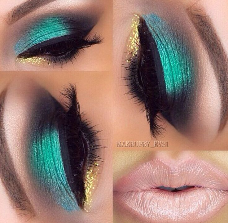 Beautiful bold green shadow and neutral lip