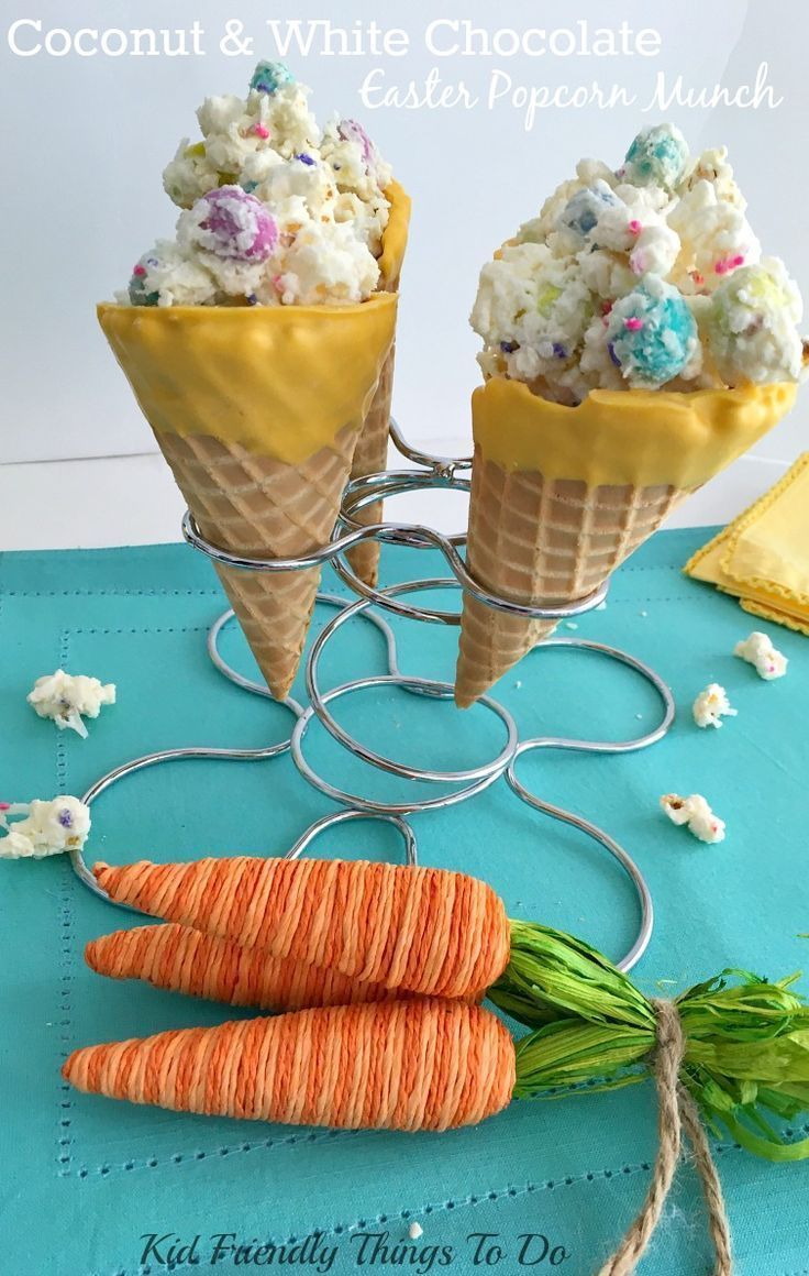 Adorable and Fun! Bunny Bait Munch made from Sea Salt Popcorn with Coconut, Candy and White Chocolate in a fun Chocolate Dipped Waffle Cone - Seriously fun and yummy for Easter or Spring Kid Parties! - http://KidFriendlyThingsToDo.com