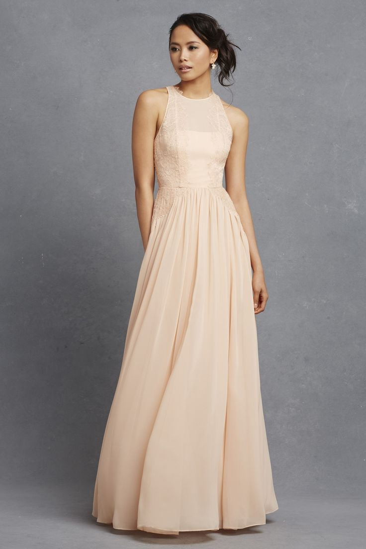 23 best neutral bridesmaids images on pinterest bridesmaids donna morgan an illusion neckline with lace overlay looks gorgeous on this chiffon dress with its natural waistline and soft a line silhouette ombrellifo Image collections