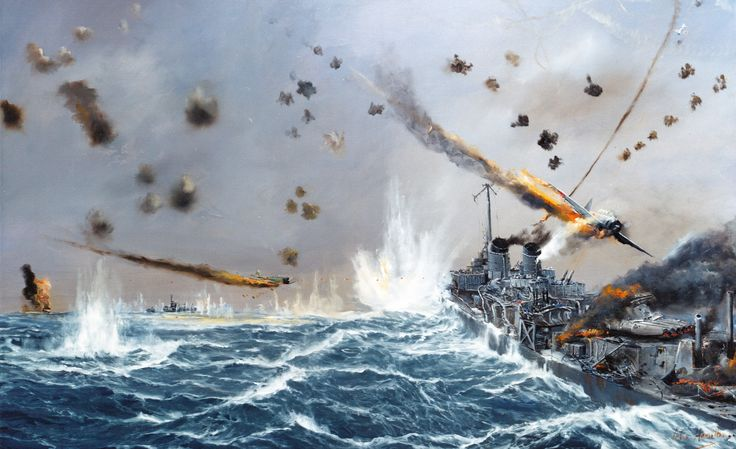 "89-20-B: Kamikaze attacks on USS Laffey (DD 724), April 15, 1945. Artwork by John Hamilton from his publication, ""War at Sea,"" pg. 256. Courtesy of the U.S. Navy Art Gallery."