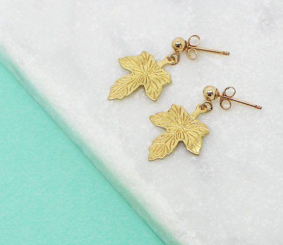 Gold Leaf Earrings, Maple Leaf Stud Earrings, Gold Filled Earrings, Tiny Gold Stud Earrings, Leaf Jewellery, Bridesmaids Gift, Woodland