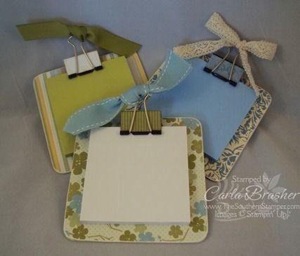 Post it note holders - chipboard coaster, binder clip, post it notes. $3
