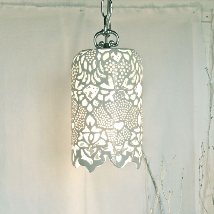 """waterlilyjewels: Carved White Porcelain Pendant Lamp This hand-carved milky white porcelain pendant lamp measures approximately 11"""" in length and 7"""" in diameter. Perfect for an entrance way or decorative nook."""