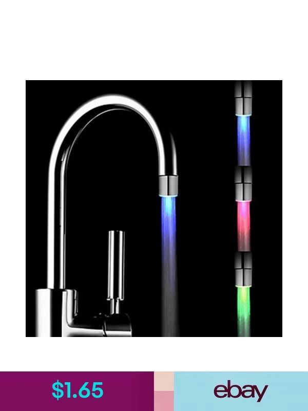 Color Kitchen Blue Red Green Temperature Sensor Glow Water Fauc