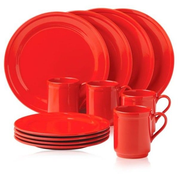 Kate Spade New York Red Sculpted Scallop Red 12-Piece Dinnerware Set ($120) ❤ liked on Polyvore featuring home, kitchen & dining, dinnerware, red, scalloped edge dinnerware, red dinnerware set, kate spade, kate spade dinnerware and red dinnerware