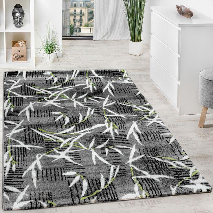 Teppich Modern Wohnzimmerteppich Kurzflor Grau Grün Creme Meliert Ausverkauf!!! Wohn und Schlafbereich Designer Teppiche