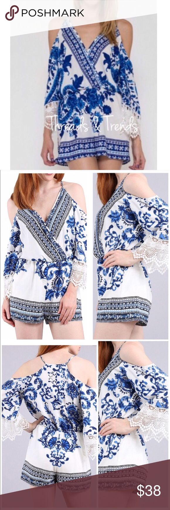 """Cobalt Blue Cold Shoulder Romper Romper Available in sizes: S, M, L Measurements Small Bust: 36"""" Elasticized waist: 24"""" Hips: 36"""" Length: 29""""  Medium Bust: 40"""" Elasticized Waist: 26"""" Hips: 40"""" Length: 31""""  Large Bust:  42"""" Elasticized waist: 28"""" Hips: 42"""" Length: 31""""  Features • Gorgeous porcelain white & indigo blue print • Cold shoulders • Crochet lace detail at end of sleeves • Plunging deep v neckline w/hidden snap closure • Non sheer • Fully lined shorts • Quality medium weight, flowy…"""
