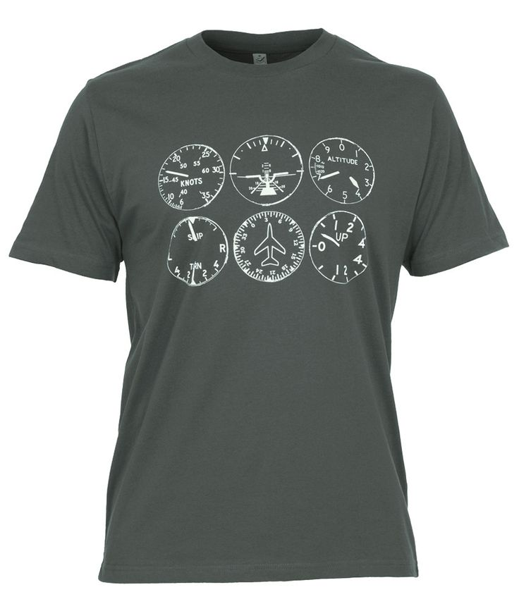 You will certainly look like a pilot wearing this aviation t-shirt! You just need the sun glasses, some aerodynamic facts and always speak like an Imperial Airways Captain (You Know, Frightfully Charming and Always in Command!). Grey Aviation T-Shirt with Basic Six Instruments Print 100% Organic Cotton is soft and long lasting. Great quality shirt. Basic Six - Supplying AvGeeks since 2013.