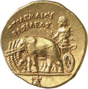 Statere - oro - Alessandria, Egitto (305-298 a.C.) - verso: ΠΤΟΛΕΜΑΙΟΥ / ΒΑΣΙΛΕΩΣ Alessandro III Tolomeo guida una quadriga di elefanti - Münzkabinett Berlin