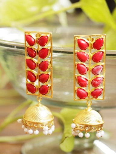 Long red color jhumki style earrings