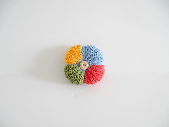 Crochet pincushion in yellow baby blue green by ILoveCrochetByAnna #italiasmartteam #etsyshop #etsy #shopping #giftidea @etsy
