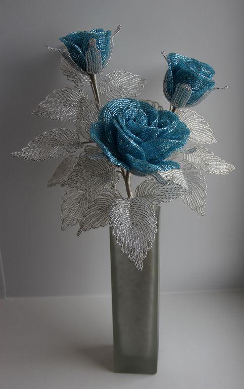 blue beaded roses