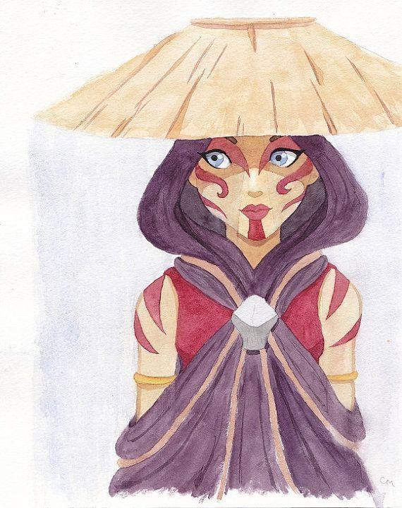 Katara the Painted Lady Watercolor Painting | Avatar the Last Airbender | Katara Waterbender 8x10 Print
