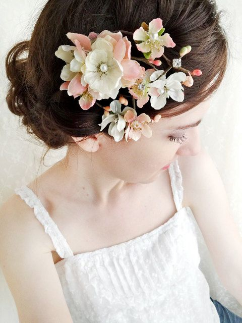 ivory wedding hairpiece pink flower hair accessory by thehoneycomb, $68.00