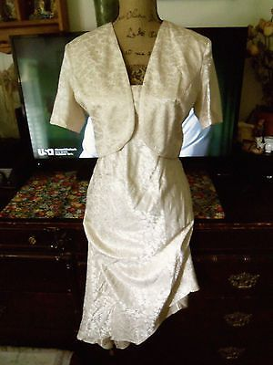 SL Fashions womens size 10 ivory two piece dress bolero jacket assymetric lined | eBay