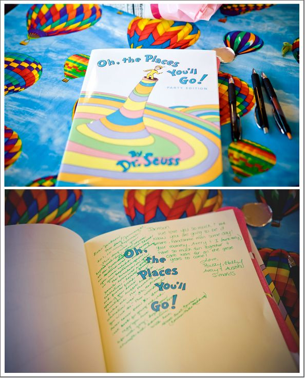 """Oh, The Places You'll Go""-themed baptism party.  I like this idea for a baby shower too!"