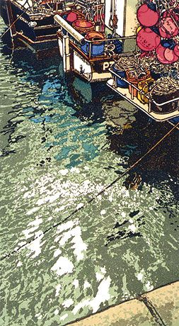 """Shimmering Light"" Linocut by H J Jackson http://www.birchamgallery.co.uk/catalogue/artist/H.J.:Jackson/biography/?category=prints. Tags: Linocut, Cut, Print, Linoleum, Lino, Carving, Block, Woodcut, Helen Elstone, Sea, Water, Boats, Fishermen, Reflection, Harbour."