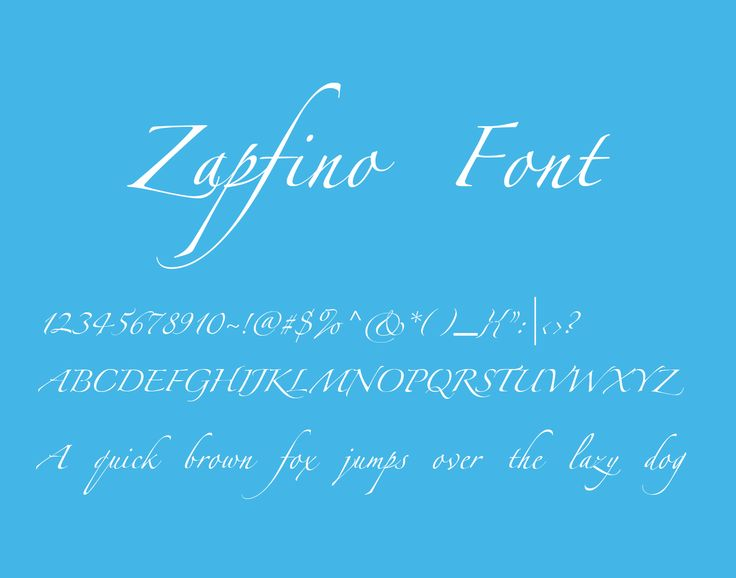 Zapfino is a calligraphic typeface designed for Linotype by typeface designer Hermann Zapf in 1998. It is based on an alphabet Zapf originally penned in 1944.