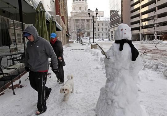 A couple walk their dogs on a snow-covered Indianapolis street.