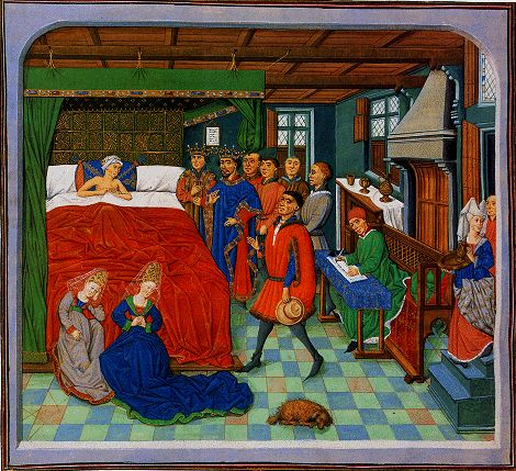 The death of Alexander in front of grieving relatives . Kings Court officials and bring him a final salute as a notary is busy with arranging the succession. Thumbnail Jean Wauquelin , Histoire d' Alexandre, southern Netherlands, circa 1460 . Paris , Bibliothèque nationale de France , Ms. fr . 9342 , fol. 210