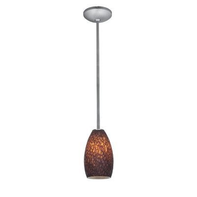 Access Lighting Champagne 1 Light Mini Pendant Finish: Brushed Steel, Shade Color: Brown Stone