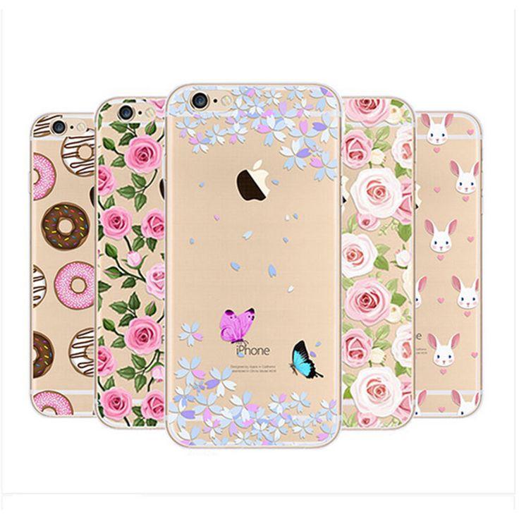 Patrón de flor transparente de silicona suave tpu caja del teléfono para el iphone 5s 6 6 s más casos de teléfono para iphone 7 plus cubierta del caso